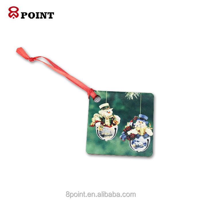 one side square ornaments Sublimation MDF wooden ornament christmas tree decorations