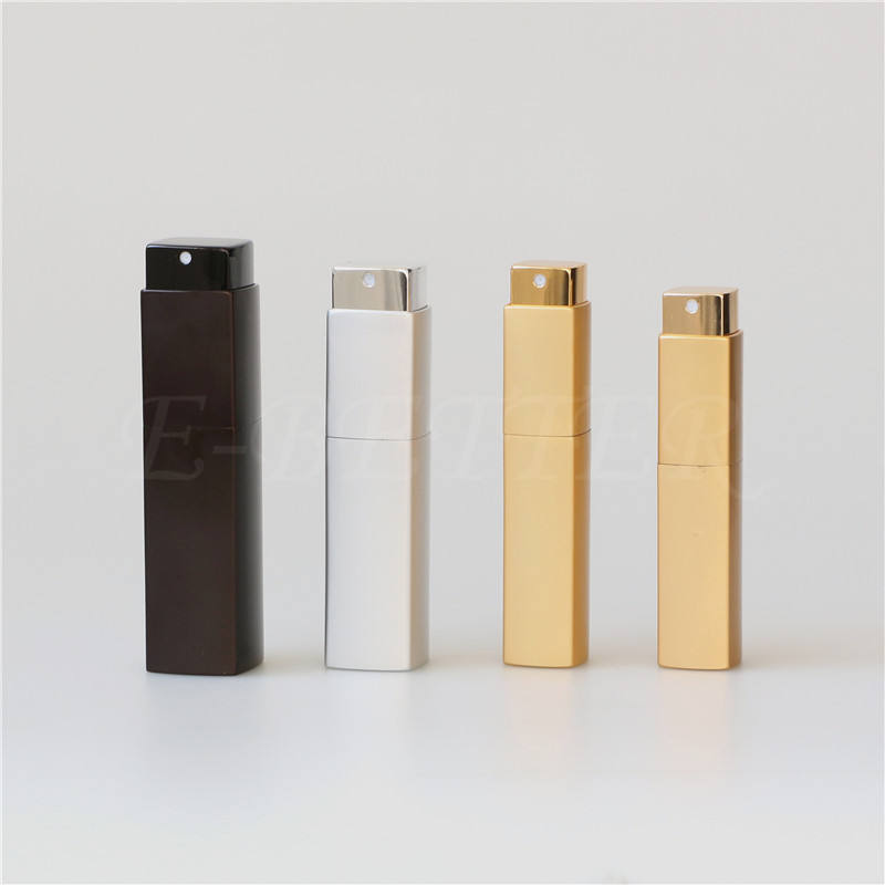wholesale small square aluminum perfume bottles spray 20ml refillable rotary travel atomizer
