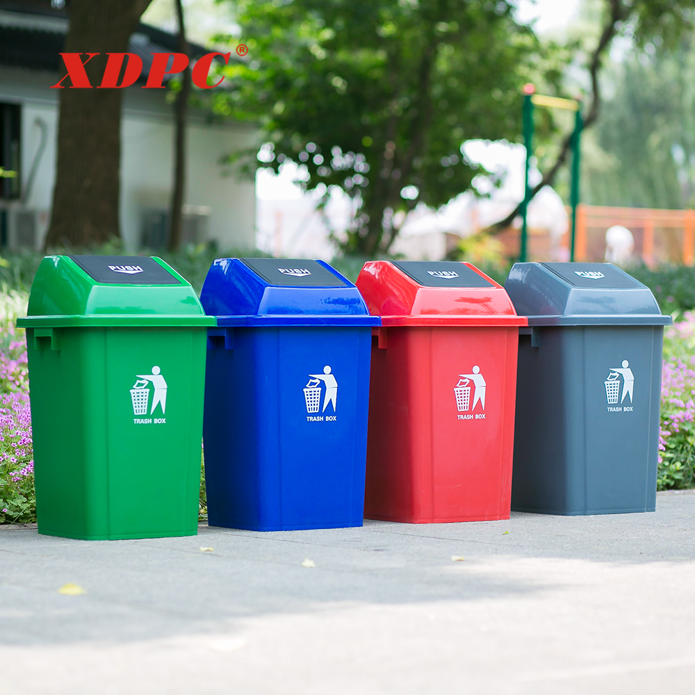 China best price outdoor square colorful 13 gallon park garbage bin kids dustbin trash can with lid