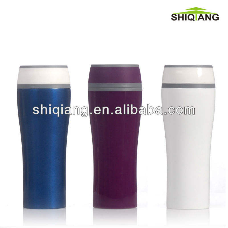 New Design Travel Mug With Logo Leak-proof Coffee Cup 400ml with PS inner and outer wall colorful mug