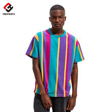 Wholesale Manufacture Vintage Clothing T-Shirts, Design Printed Stripe T Shirt in Bulk