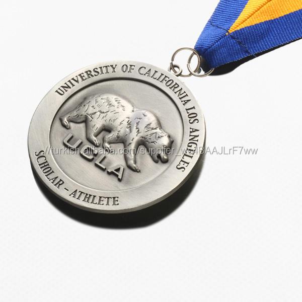 Promosyon özel logo kazınmış antik kalaylı kaplama ucuz okul madalya