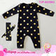 2017 Fashion Black Gold Polka Dots Newborn One-Piece Rompers Baby Boy Girls Long Sleeve Winter Rompers Infant Jumpsuit Clothing