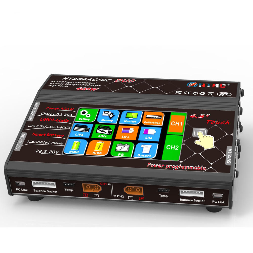 "HTRC HT206 AC/DC DUO 200W*2 20A*2 Dual Port 4.3"" Color LCD Touch Screen RC Lipo Balance Charger for Lilon/LiPo/LiFe/LiHV Battery"