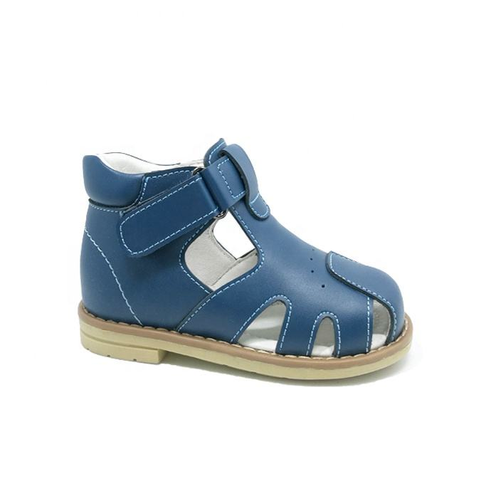 Baby orthopedic shoes boys closed toe blue leather sandal manufactured in guangzhou