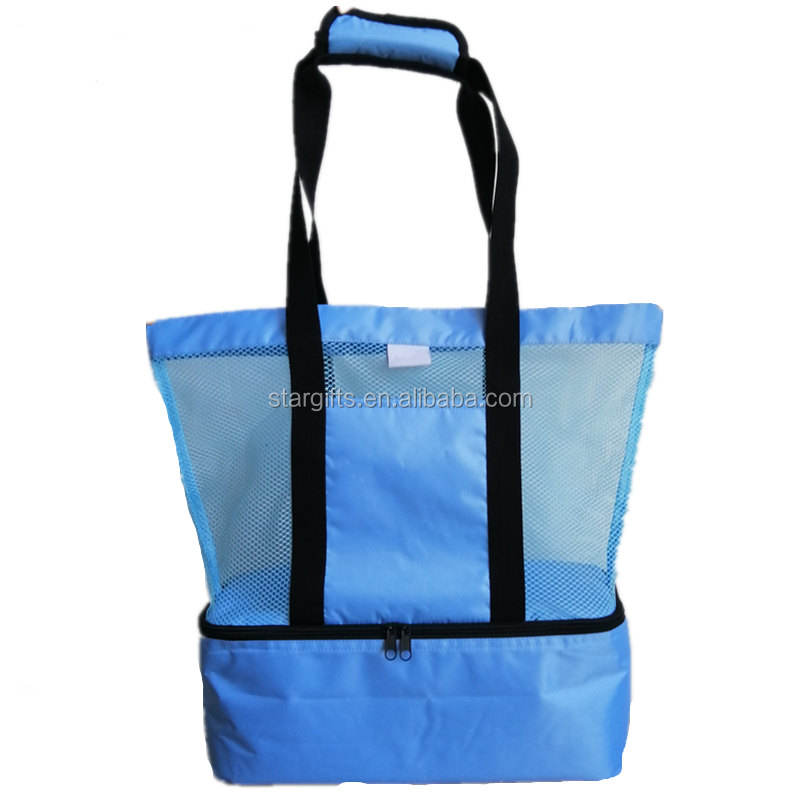 Picnic Cooler Mesh Polyester Wine Water Bottle Cans Tote Beach Bag With Insulated cooler compartment