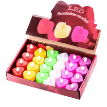 24pcs Heart/love shape Electronic Candle Simulation Candle Lights Flameless Flashing Tea Lights Wedding Party Decoration