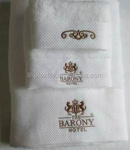 100% cotton custom 5 star hotel towel set logo embroidered