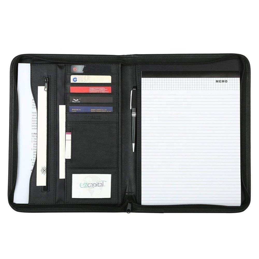 Fashion Office Business Document Writing Pad Zipper Presentation Folder PU Leather A4 Conference Portfolio File Padfolio