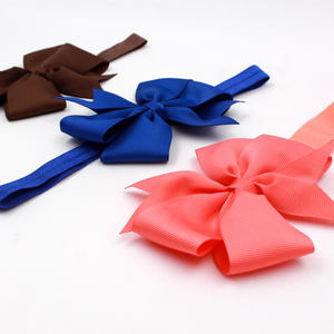 Baby Girls Satin Ribbon Bow Hair Elastic Headbands For Toddlers