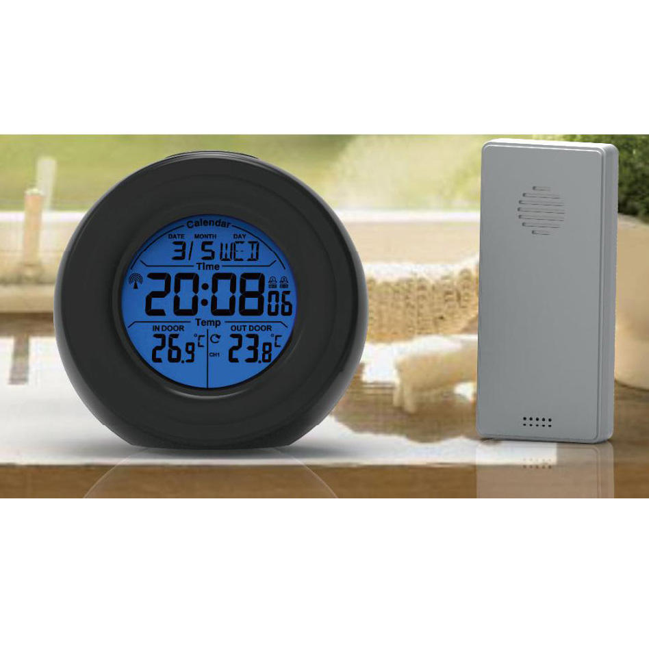 Alarm Clock Temperature Weather Station Round Mini Digital Clock for Car