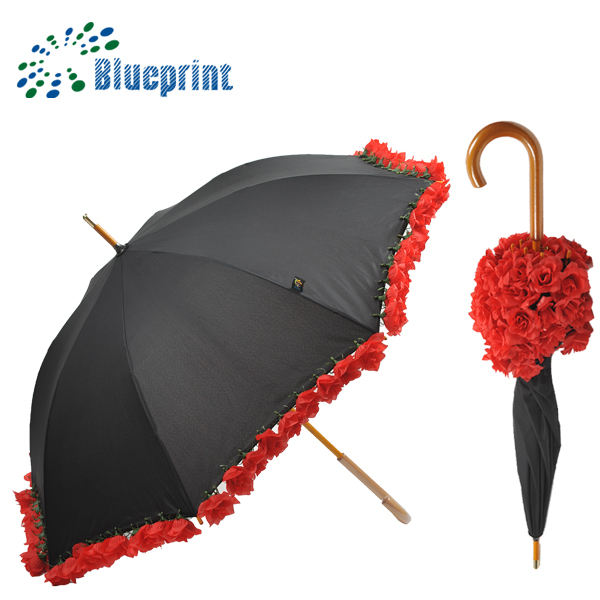 Red Rose Flowers Edge Straight Wooden Umbrella For Woman