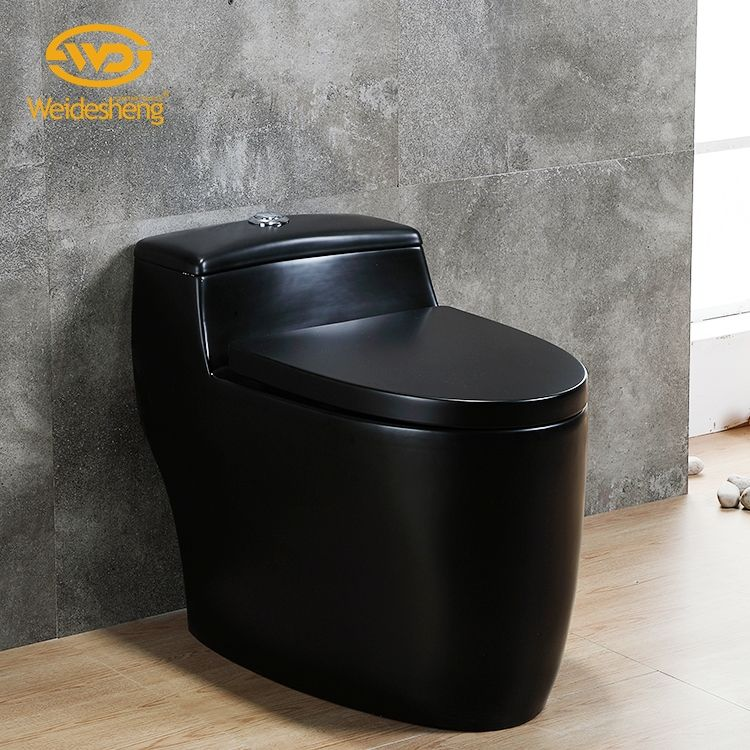 Simple elongated dual flush one piece water closet siphon matte black ceramic toilet