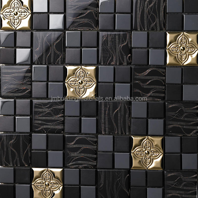 Metal Backsplash Tiles Stainless Steel Sheet and Crystal Glass Blend Mosaic Wall Decor