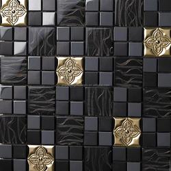 Metal Backsplash Tiles Stainless Steel Sheet and Crystal Glass Blend Mosaic Wall Decor
