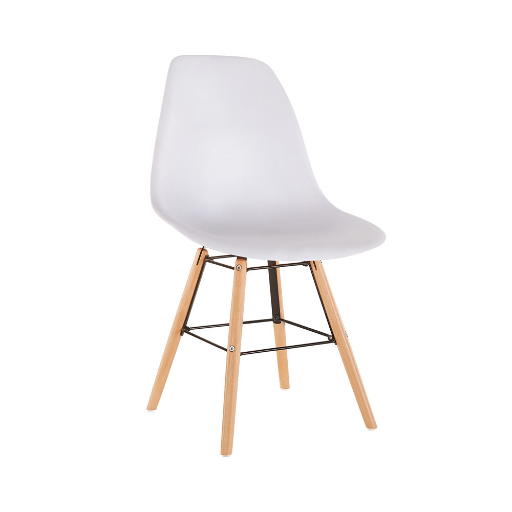 French Home Furniture Fancy Luxury Cheap In China White Shell Plastic Chair Wooden Legs / White Plastic Dining Chair Models