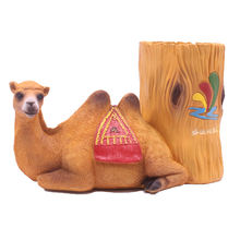 Custom cheap resin animal figurines camel  desktop pen holder penholders