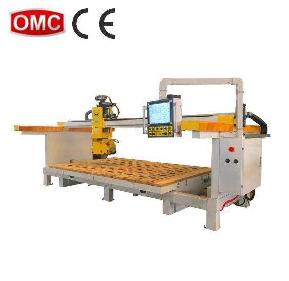 Granite marble CNC 5 axis monoblock bridge saw cutting slotting drilling polishing machine