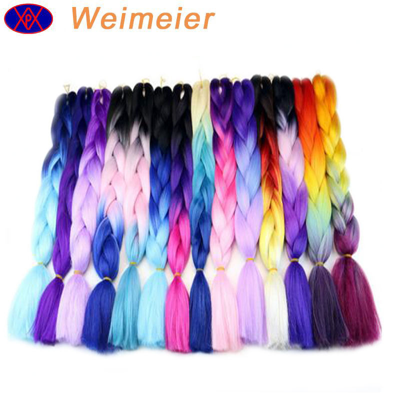 2020 wholesale high quality straight crochet synthetic hair weave ,ombre two three four tone colored jumbo braid hair