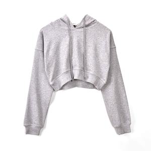 Latest hot sale blank plain womens pullover crop hoodies