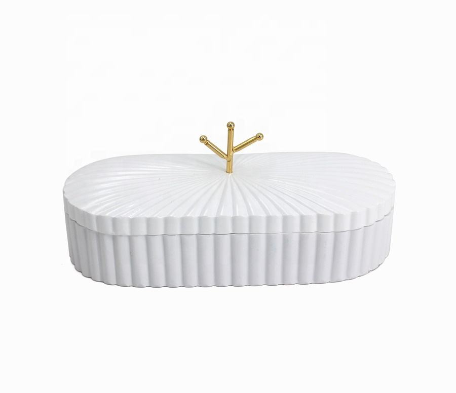 82703 Resin White Rect Trinket Box Jewellery Case Jewel Storage Box Little thinges collection for home and supermarket
