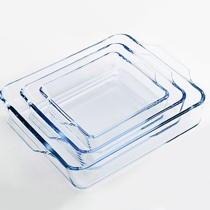 Oven Safe Borosilicate Pizza Pan Large Size Square Pyrex Glass Baking Dish