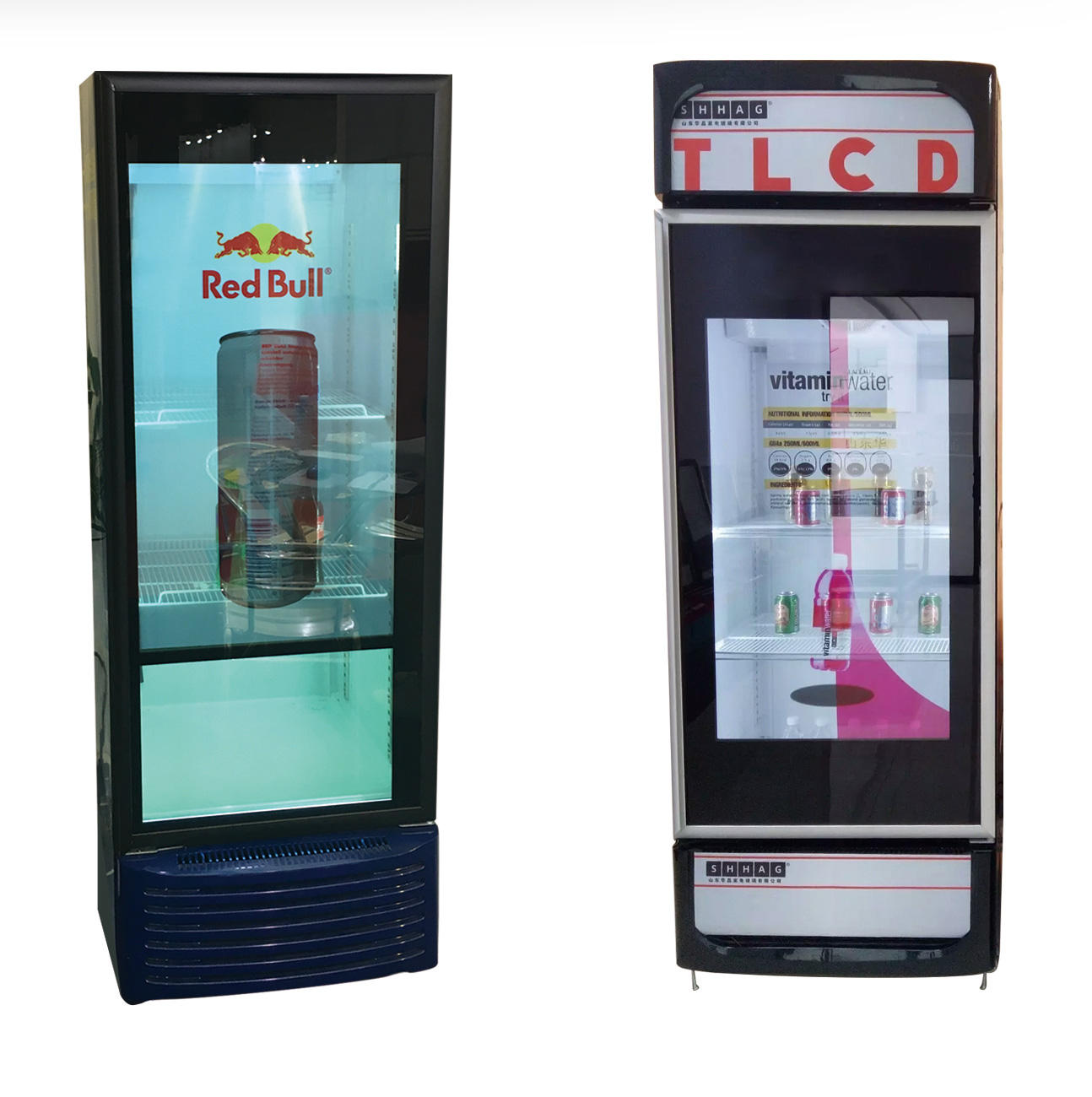 Transparent LCD screen fridge, refrigerator, freezer, cooler, with advertise video display function