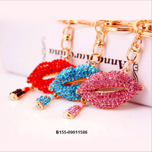 fashion gifts sexy lipstick lip keychain metal key chain female bag mouth Pendant