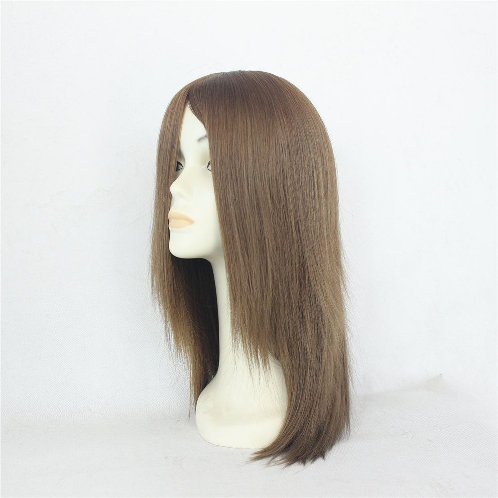 Fast shipping large stock silk top base wigs jewish wig suna remy straight human hair full lace wig with bangs jewish topper
