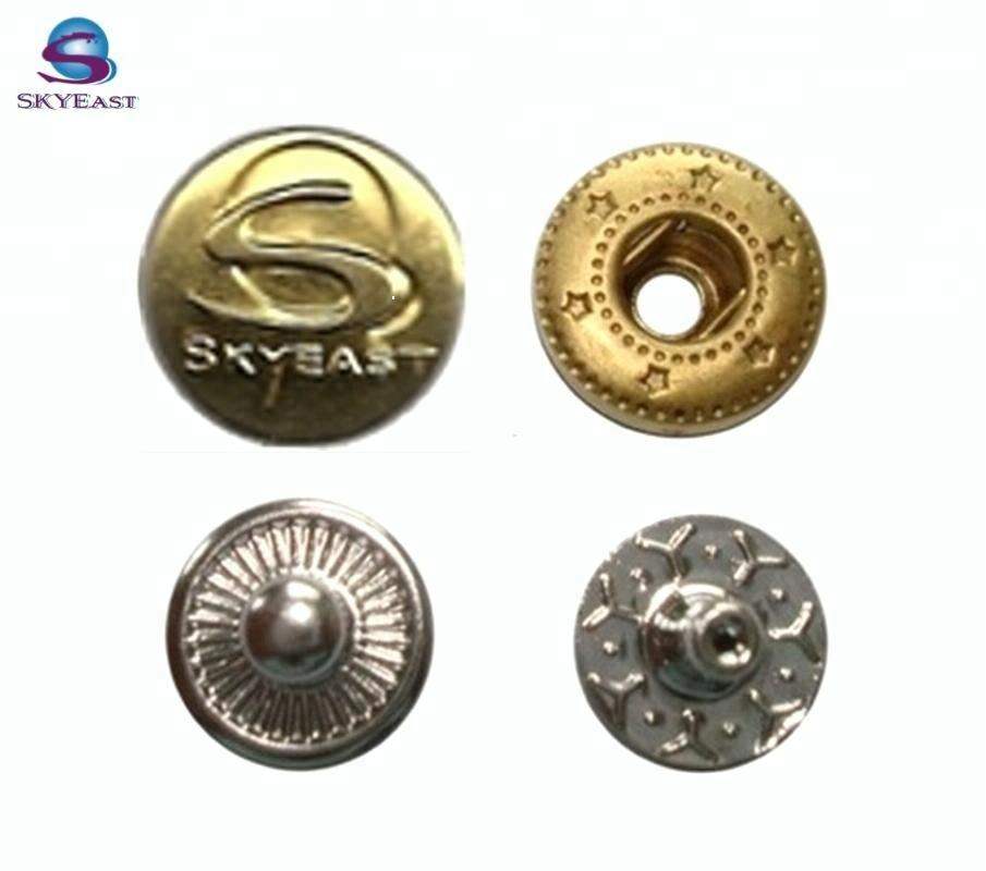 Customized Design Engraved Logo Metal Snap Press Buttons