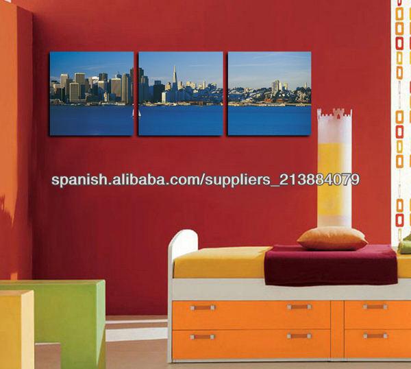 2014 Impresiones Nueva Diseño Ciudad Paisaje lona para la decoración