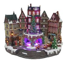 LED light colorful animated Santa Claus cityhall musical Christmas village decor