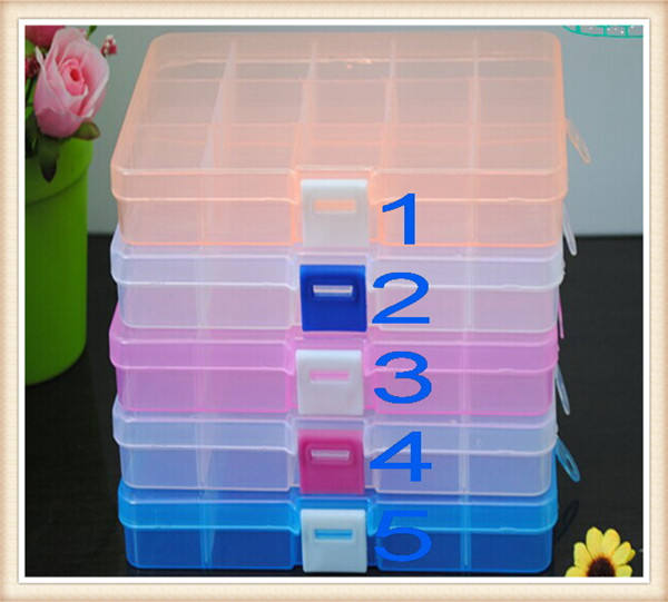 Lege 15 Compartiment Plastic Clear Storage Box Voor Sieraden Rainbow Loom Bands Container Diversen Organizer
