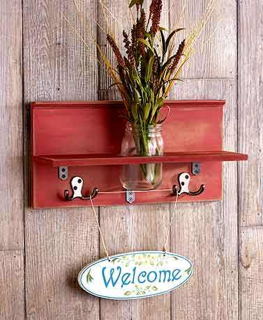 newest fashion multifunctional wall mounted shelf with mason jar and hooks new wooden home wall decoration