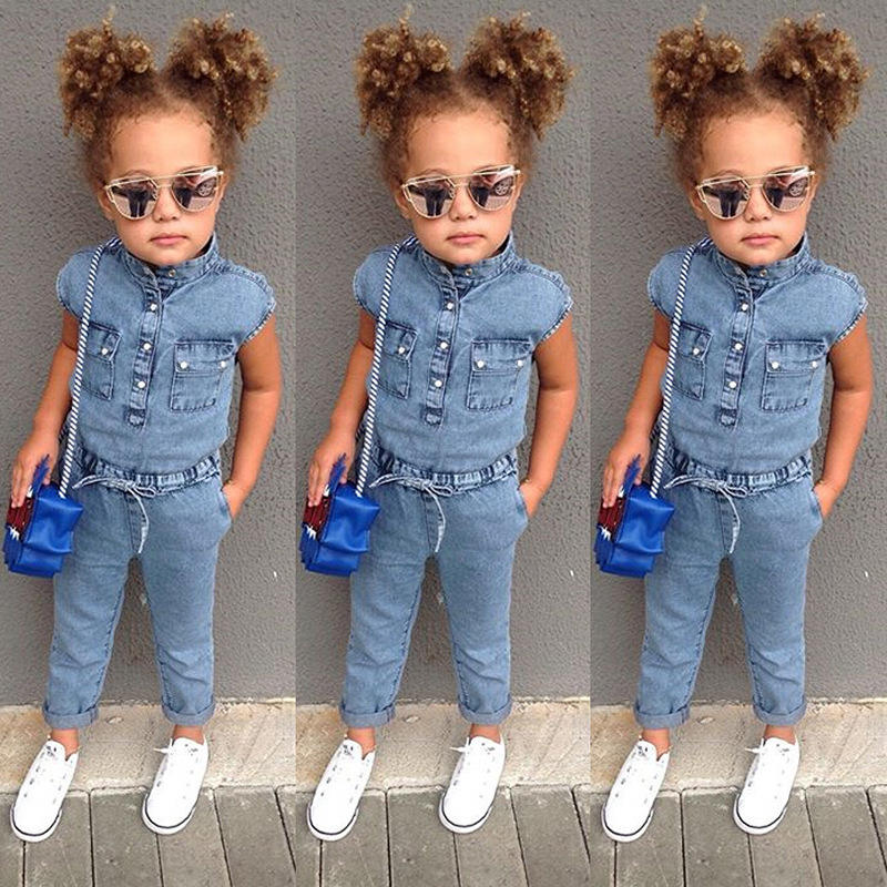 Ins hot selI popular style girls clothes denim jumpsuit cotton bow pocket short sleeves 2019 kids clothing in wholesale