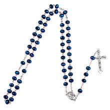Dark Blue Glass Bead Catholic Rosary Necklace Religious Father Beads Holy Soil Inside Centerpiece Maxi Strand Necklace for women