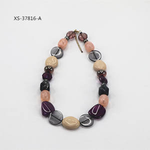 String Cord Chunky Statement Colorful Acrylic Bead Choker Necklace For Women