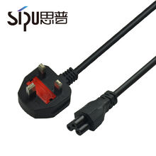SIPU laptop computer power ac extension cord 3 pin plug BS uk power cord cable