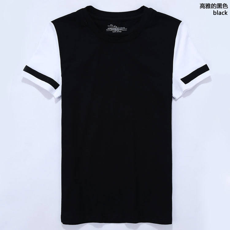 New design fashion sleeve patch O neck t shirt youth trend t shirt with logo&labels
