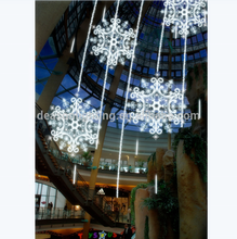 customize commercial shopping mall hotel christmas decoration hanging led big snowflakes motif Light
