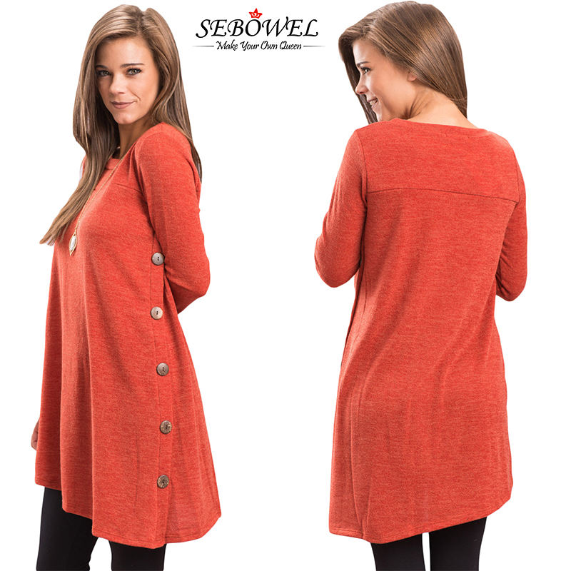 Hot selling button side long sleeve women wholesale tunic tops
