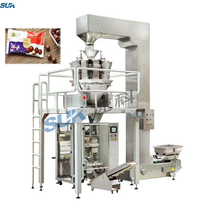 Puffy food fries shrimp potato chips automatic weighing packing machine
