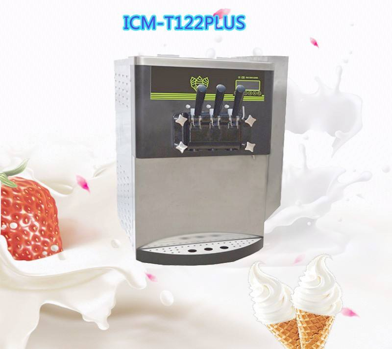 Bench top 3flavors frozen yogurt soft serve ice cream machine with pre cooling