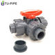 plastic PVC three 3 way 3-way three-way ball valve dn15 dn20 dn25 dn32 dn40