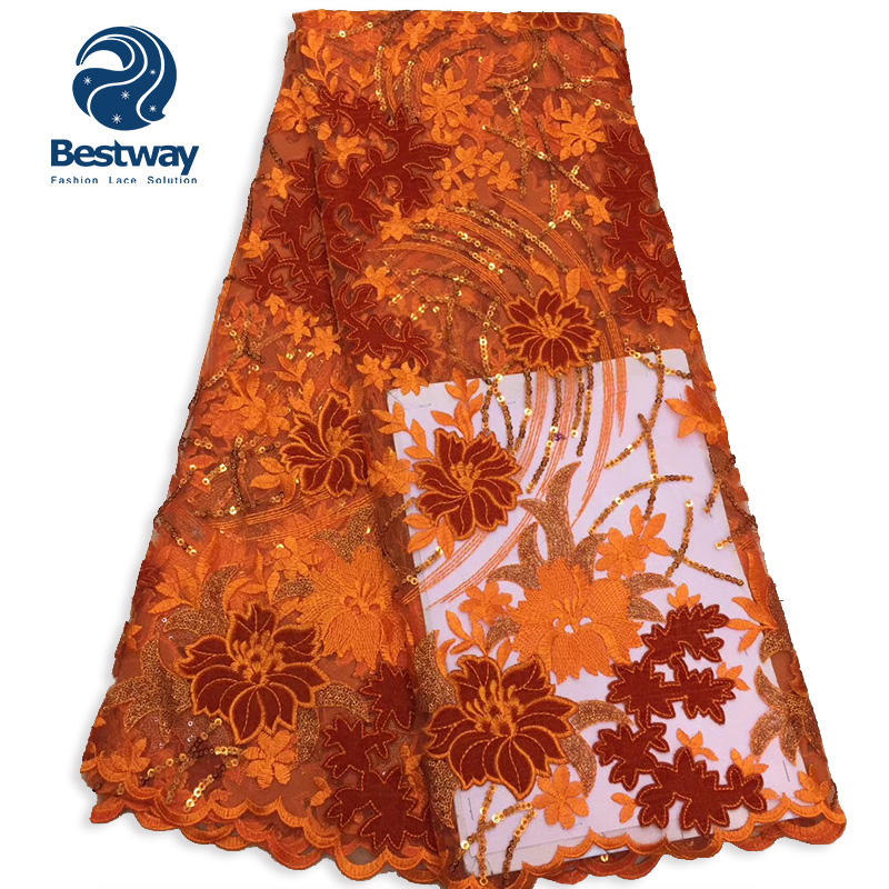 Bestway Embroidery Velvet Sequins Net Lace Fabric