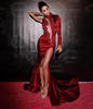Sexy Burgundy Mermaid Lady Evening Dress High Collar One Long Sleeve Applique Prom Gowns Red Carpet Dresses