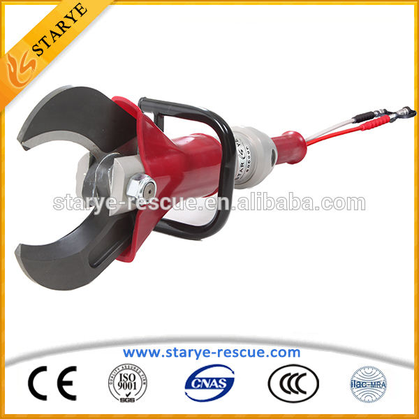 Fireman Using Safety Equipment Steel Pipe Cutting Tool