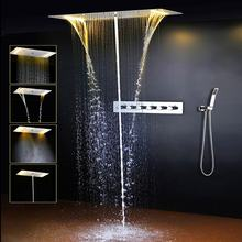 Newly Design Contemporary Style LED Thermostatic Shower Head Set Multi Function SPA Massage Shower Panel Faucet