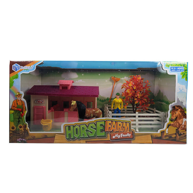 Happy plastic animals play set toy horse farm for kids