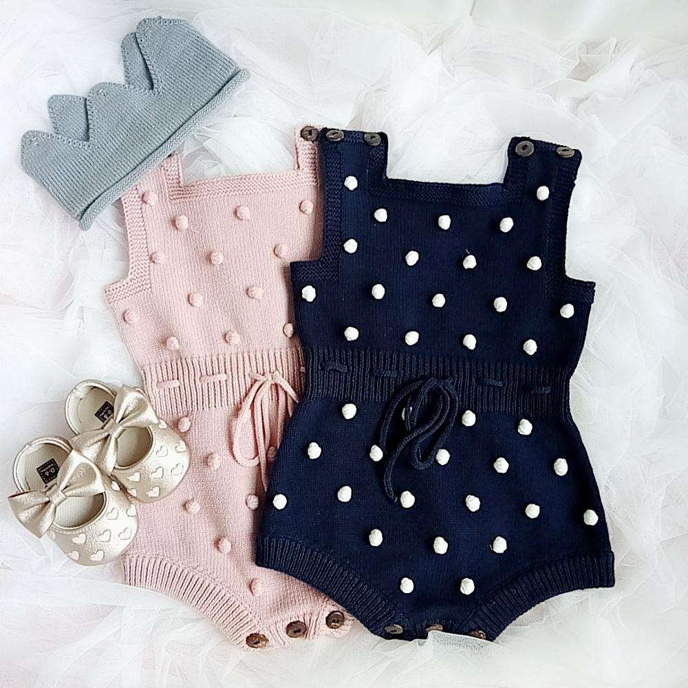 INS Spring AutumnToddler Pink Blue Hair Ball Romper Girl Jumpsuits Wholesale Knit Newborn Baby Clothes